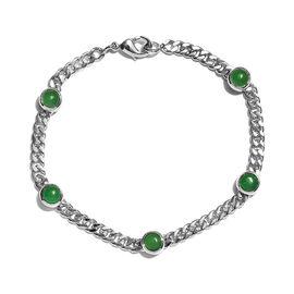 Green Jade (Rnd) Bracelet (Size 7.5) in Platinum Plated 3.500 Ct.