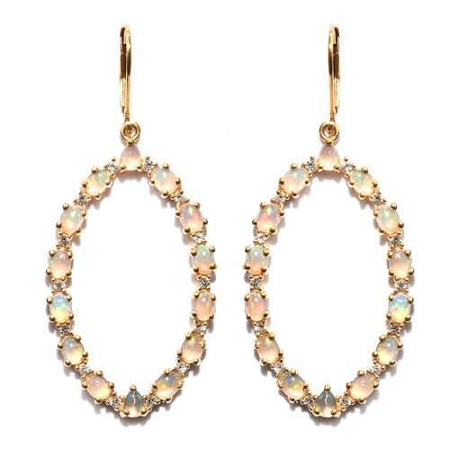 Ethiopian Welo Opal (Ovl), Natural Cambodian Zircon Lever Back Earrings in 14K Gold Overlay Sterling