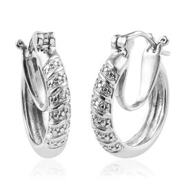 Diamond (Rnd) Hoop Earrings (with Clasp Lock) in Platinum Overlay Sterling Silver, Silver wt 4.03 Gms.