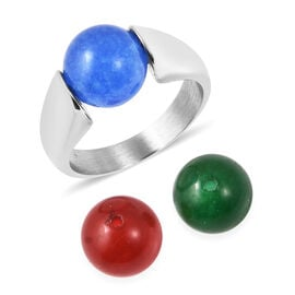 Blue, Green and Red Jade Three Bead Interchangeable Ring in Stainless Steel 20.75 Ct.