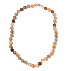 One Time Deal-Multi Rutilated Quartz (Rnd 9-11mm) Beads Necklace (Size 20) with Magnetic Lock in Rhodium Plated Sterling Silver 310.000  Ct.