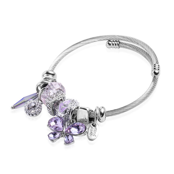 2 Piece Set - Simulated Amethyst, Simulated Sleeping Beauty Turquoise and Multi Colour Gemstone Multi-Charm Adjustable Enamelled Bracelet (Size 6-7.5) in Silver Tone