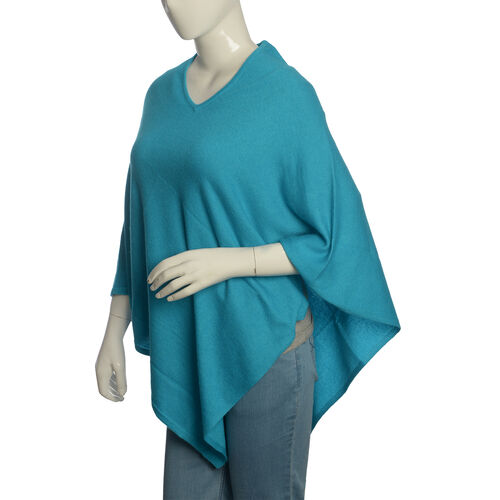 Limited Available - 100% Pashmina Wool Designer Inspired Poncho in Turquoise Colour (Free Size)