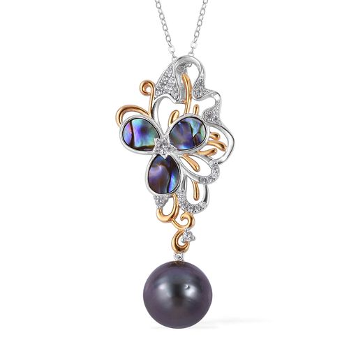One Time Deal - Tahitian Pearl (Rnd 11-12mm), Abalone Shell and Natural Cambodian White Zircon Pendant With Chain in Rhodium and Gold Overlay Sterling Silver, Silver wt 6.43 Gms.