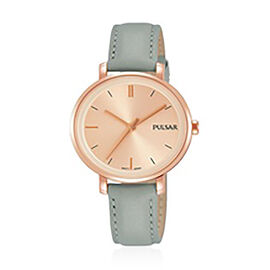 Pulsar Ladies Rose Gold Dial 50M Watch with Grey Leather Strap