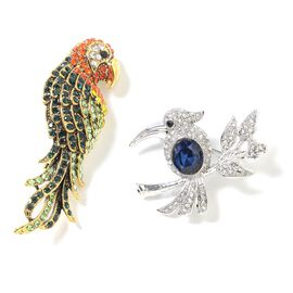 2 Piece Set - Multi Colour Austrian Crystal (Rnd), Simulated Blue Sapphire Parrot and Hummingbird Brooch in Gold Plated