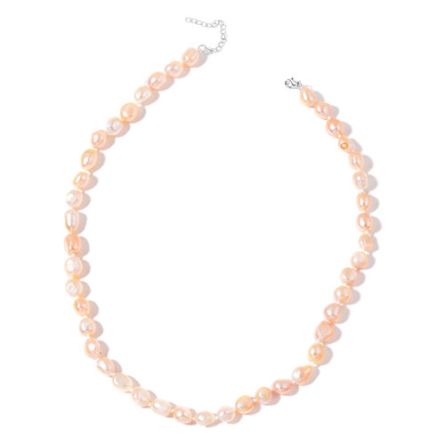 Peach Pearl Necklace: Fresh Water Peach Pearl Necklace In Silver Size 20 Inch