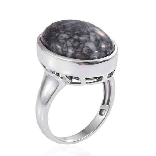 Austrian Pinolith (Ovl) Ring in Platinum Overlay Sterling Silver 17.250 Ct.