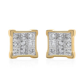 ILIANA 18K Yellow Gold IGI Certified Diamond (Sqr) (SI /G-H) Stud Earrings (With Screw Back) 0.500 Ct.