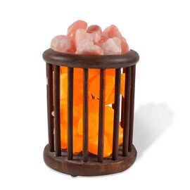 Himalayan Salt Chunk Lamp With Wooden Cylinder Basket (Size: 15.2x15.3x22.8cm, Weight: 4 Kgs)