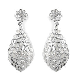 3.25 Ct Polki Diamond Earrings in Platinum Plated Sterling Silver 5.35 Grams