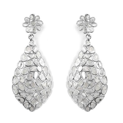 3.25 Ct Polki Diamond Earrings in Platinum Plated Sterling Silver 5.35 Grams