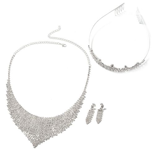 3 Piece Set - White Austrian Crystal (Rnd) Waterfall Necklace (Size 16 with 7 inch Extender), Tiara