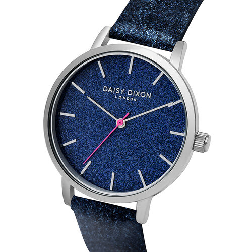 Daisy Dixon Naomi Navy Blue Strap With Silver Dial Ladies Watch