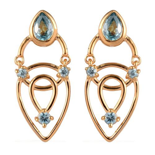 Ratanakiri Blue Zircon Earrings (with Push Back) in 14K Gold Overlay Sterling Silver 3.00 Ct, Silver