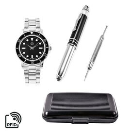 4 Piece Set - STRADA Japanese Movement Water Resistant Watch with Chain Strap, RFID Blocking Card Ho