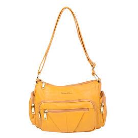 SENCILLEZ Multi Pocket Genuine Leather Crossbody Bag (Size 31x13x21 cm) - Yellow