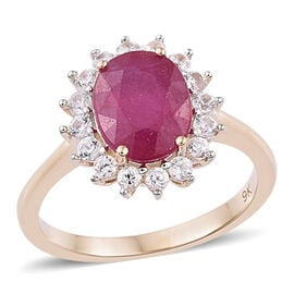 9K Yellow Gold AA African Ruby (Ovl 9x7mm), Natural Cambodian Zircon Ring 2.75 Ct.