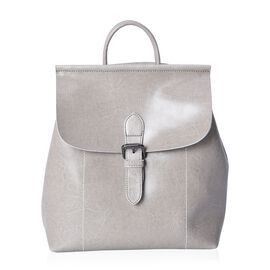 100% Genuine Leather Grey Colour Backpack with External Zipper Pocket (Size 25x12x30 Cm)