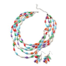 Multi Colour Howlite (14x8 mm), Necklace (Size 20 with 2 inch Extender) and Hook Earrings in Black Oxidised with Stainless Steel 655.000 Ct.