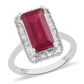 AA African Ruby and Diamond Ring Platinum Overlay Sterling Silver 4.06 Ct.