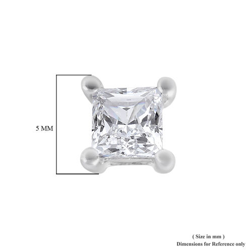 9K White Gold SGL Certified Diamond (I3/G-H) Stud Earrings (with Push Back) 0.25 Ct.