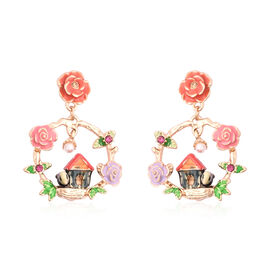 Champagne Austrian Crystal, Fuchsia Austrian Crystal and Simulated Pearl Enamelled Floral Earrings (