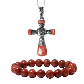 2 Piece Set - Sponge Coral Cross Pendant With Chain (Size 20) and Bracelet (Size 7 Stretchable) in S