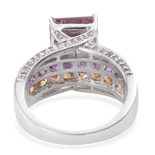 Limited Edition - Anahi Ametrine (Oct 4.40 Ct), Citrine, Amethyst and White Zircon Ring in Platinum Overlay Sterling Silver 6.750 Ct.