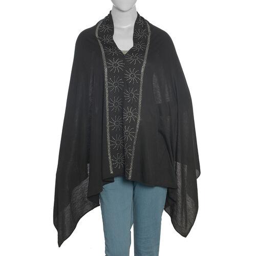 Black Colour Kaftan with Swarovski Crystal Embellished (Size 151.13x69.85 Cm)