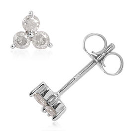 9K White Gold SGL Certified Diamond (Rnd) (I3/G-H) Stud Earrings (with Push Back)