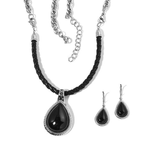 Black Onyx Multi Functional Necklace (Size 18 to 24 with 2 inch Extender) and Lever Back Earrings in Stainless Steel 60.000 Ct.