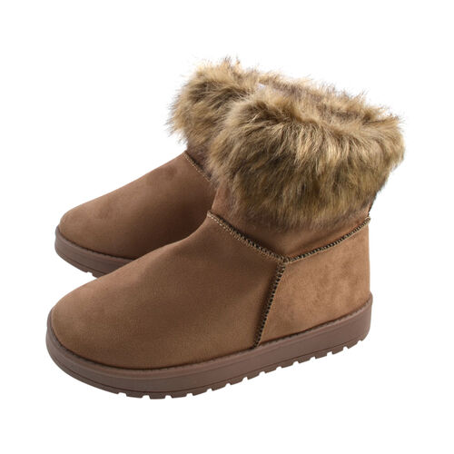 Ladies Faux Fur Flat Warm Ankle Boots in Taupe (Size 3)