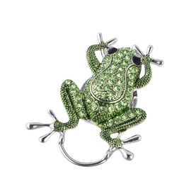 Green and Black Austrian Crystal Frog Magnetic Brooch in Silver Plating
