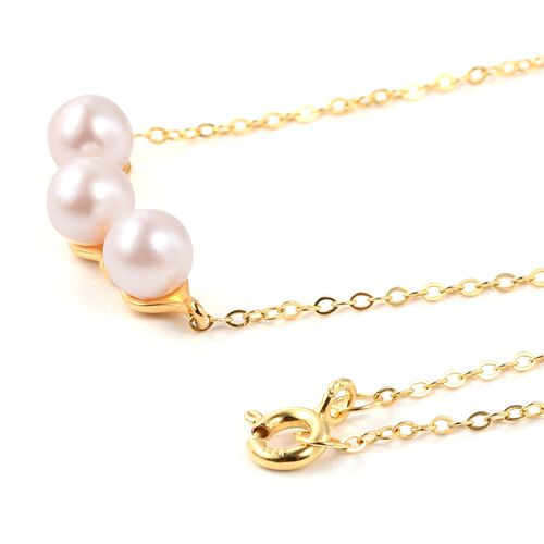One Time Deal-Japanese Akoya Pearl (Rnd 5-6mm) Necklace (Size 18) in Yellow Gold Overlay Sterling Silver