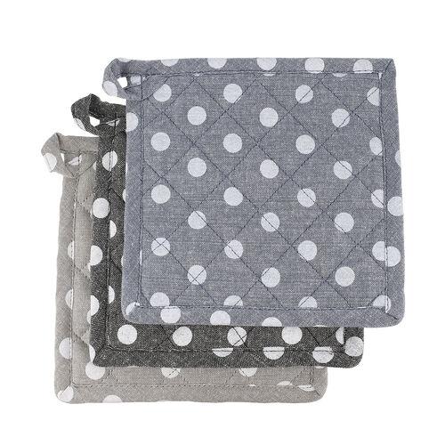 Set of 6 - 100% Cotton Polkadot Printed Potholder (20x20cm) and Gloves (31x18cm) - Blue, Grey and Black
