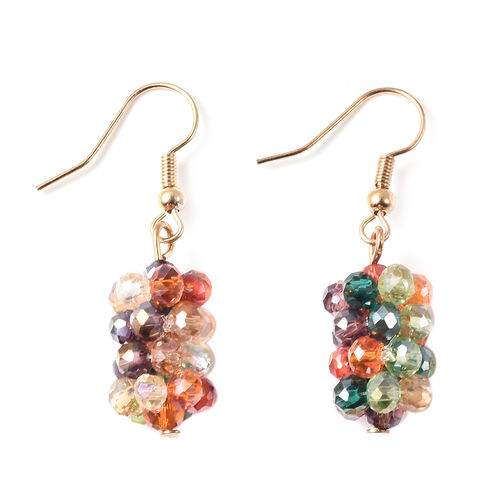 2 Piece Set - Simulated Multi Colour Gemstone Hook Earrings and Stretchable Bracelet (Adjustable size 6.5-7) in Yellow Gold Tone