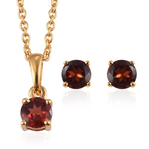 Set of 2 -  Mozambique Garnet Stud Earrings and Pendant with Chain (Size 18) in 14K Yellow Gold Over