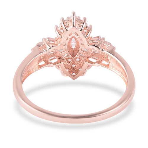 ELANZA Simulated Diamond (Rnd and Bgt) Cluster Ring in Rose Gold Plated Sterling Silver 0.89 Ct.