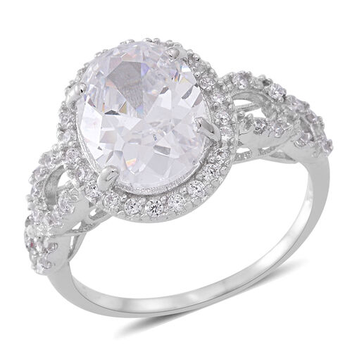 ELANZA Simulated White Diamond (Ovl 12x9 mm) Ring in Rhodium Plated Sterling Silver