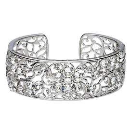 J Francis White Crystal from Swarovski Filigree Cuff Bangle in Platinum Plated 7.5 Inch