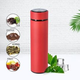 Hot and Cold Flask with Tea Infuser (Size 23x6cm - 500ml) - Red