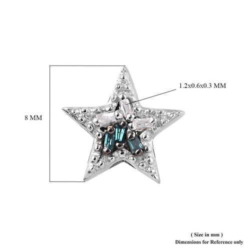 Blue and White Diamond Kids Star Earrings in Sterling Silver