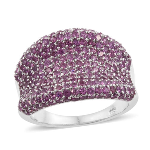 Rhodolite Garnet (Rnd) Cluster Ring in Platinum Overlay Sterling Silver 4.750 Ct.Total Number of Sto