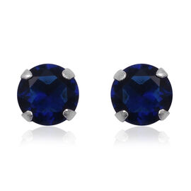 ELANZA Blue Cubic Zirconia Solitaire Stud Earrings in Sterling Silver