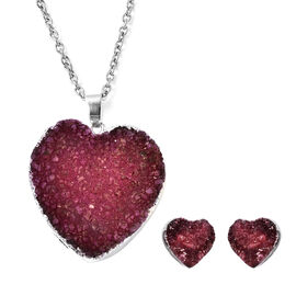 2 Piece Set - Fuchsia Druzy Quartz Heart Stud Earrings (with Push Back) and Heart Pendant with Chain