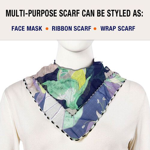 2 in 1 Flower Pattern Chiffon Soft Feel Scarf and Protective Face Mask (Size 45x45 Cm) - Blue