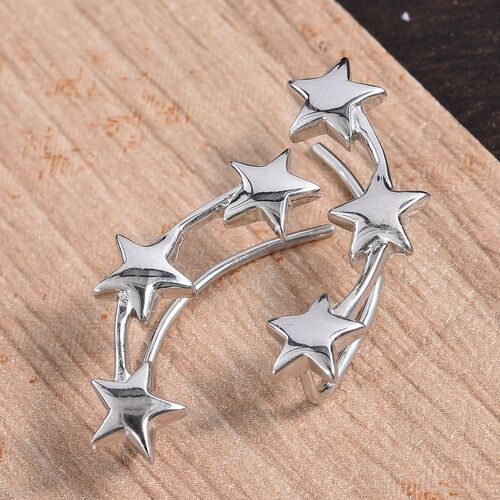 Platinum Overlay Sterling Silver Star Climber Earrings, Silver wt 4.18 Gms.