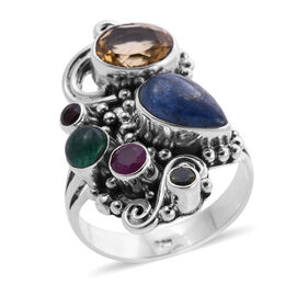 Sajen Silver GEM HEALING Collection- Kyanite, Citrine and Multi Gemstone Ring on Sterling Silver 5.5
