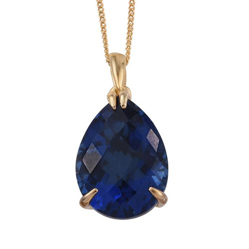 Ceylon Colour Quartz (Pear) Solitaire Pendant With Chain in 14K Gold Overlay Sterling Silver 9.500 Ct.